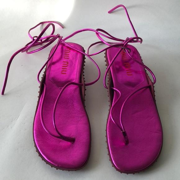 b5119bd50efdf5 Miu Miu Hot Pink Leather Rubber Ankle Strap Sandal.  M 5abfa8309a9455904dc12949